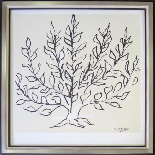 atelier des 4 coins - arbre monochrome de Matisse avec coins bouchés argenté, filet noir