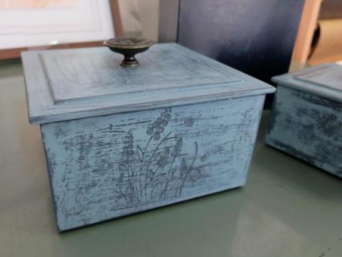 atelier des 4 coins - cartonnage - boite patinée