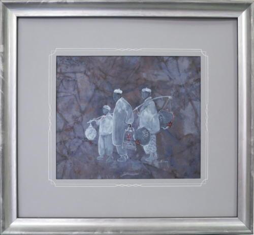 atelier des 4 coins - filets encre blanche sur passe gris - aquarelle