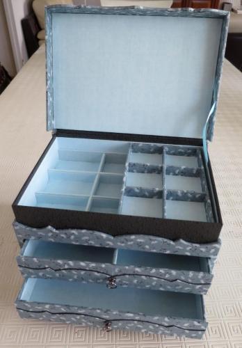 boite à bijoux tissu ouverte - atelier des 4 coins