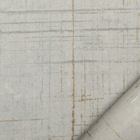papier pour le cartonnage lignes or et argent irrégulières et interrompues sur un fond ivoir