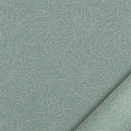 papier pour le cartonnage imprimé de fleurs stylisées balnches sur fond bleu pastel