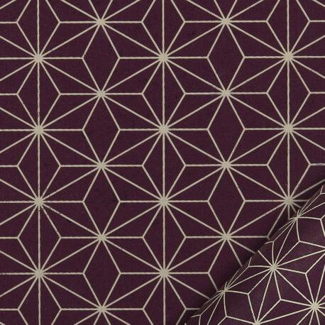 papier pour le cartonnage imprimé d'étoiles style origami japonais sur fond prune - 50 x 70 cm de 110 g/m²