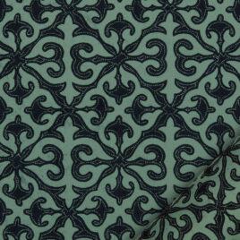 papier pour le cartonnage imprimé de motifs géométriques de style baroque de couleur bleu marine sur fond turqoise