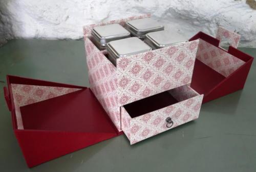 atelier des 4 coins - cartonnage - coffret à thé